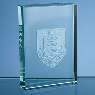 9cm Jade Glass Rectangular Paperweight