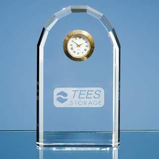 13cm Optical Crystal Bevelled Arch Clock