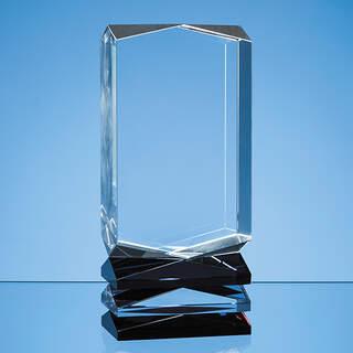 23cm Nik Meller Design Clear Optical Crystal  Cobalt Blue & Red Covet Column Award