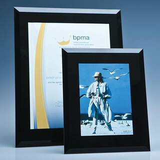Black Surround Glass Frame for A4 Photo or Certificate  H or V