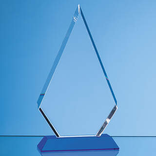 18cm Optical Crystal Facet Diamond Award on a Sapphire Blue Base