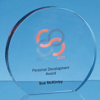 12.5cm x 19mm Clear Glass Freestanding Circle Award