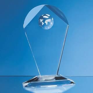 18cm Optical Crystal Arch Award with Recessed Globe