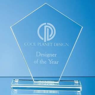 15.5cm x 13.5cm x 1cm Jade Glass Diamond Award