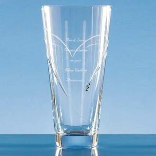 25cm Diamante Conical Vase with Heart Shaped Cutting