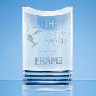 21cm Nik Meller Design Clear Optical Crystal & Cobalt Blue Oval Michel Award