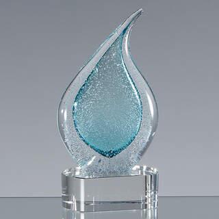 17cm Handmade Glass Frosted Teal Teardrop Award