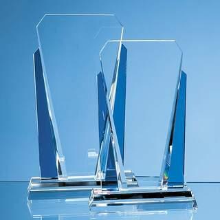 21.5cm Clear & Sapphire Blue Optical Crystal Sentinel Award