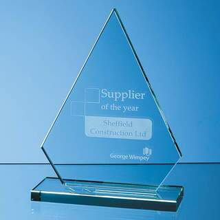 19cm x 15cm x 12mm Jade Glass Peak Award