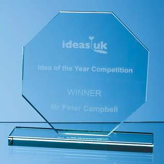 15cm x 15cm x 12mm Jade Glass Octagon Award