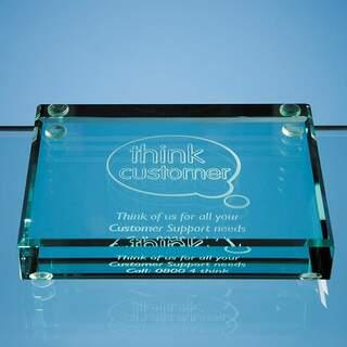 10cm Jade Glass Rectangle Paperweight