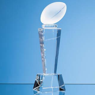 18cm Optical Crystal Rugby Ball Column Award